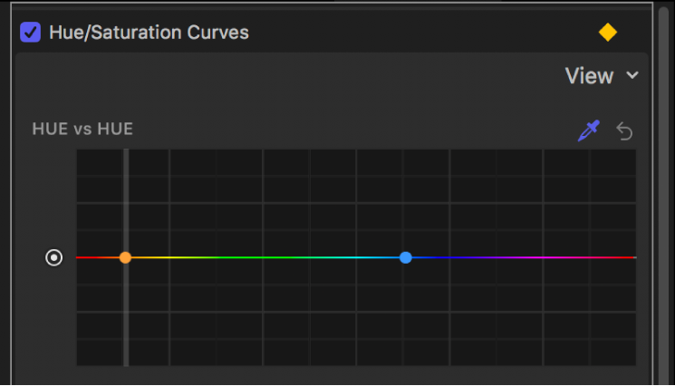 """Das Informationsfenster """"Filter"""", das Steuerpunkte auf der """"Farbton vs. Farbton""""-Kurve mit einer vertikalen Linie zeigt, die durch die ausgewählte Farbe im Canvas verläuft"""