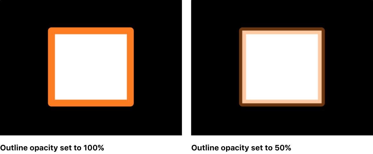 Canvas mit einem Objekt, das unterschiedliche Deckkraftwerte für die Füllung und für die Kontur verwendet.