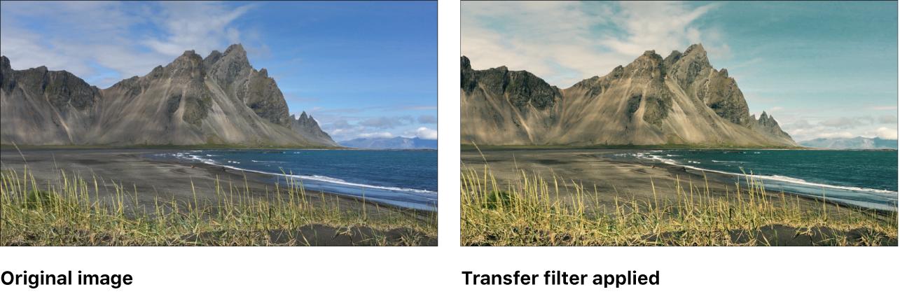 """Canvas mit dem Effekt des Filters """"Übertragen"""""""