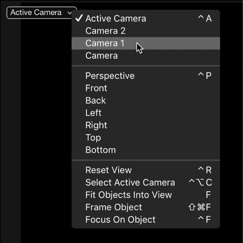 """Auswählen einer anderen Szenenkamera aus dem Einblendmenü """"Kamera"""" im Canvas"""