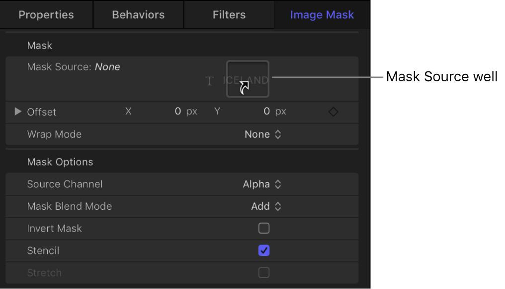 """Informationsfenster """"Bildmaske"""" mit einem Objekt, das zum Bildfeld """"Quellmaske"""" bewegt wird"""