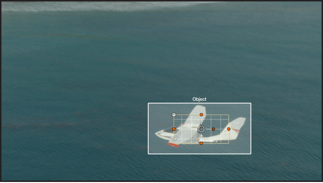 Object tracker bounding box automatically identifying an airplane in the canvas