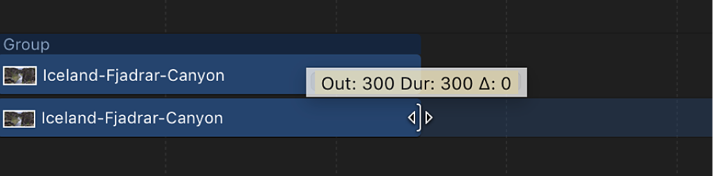 Trim tooltip in the Timeline