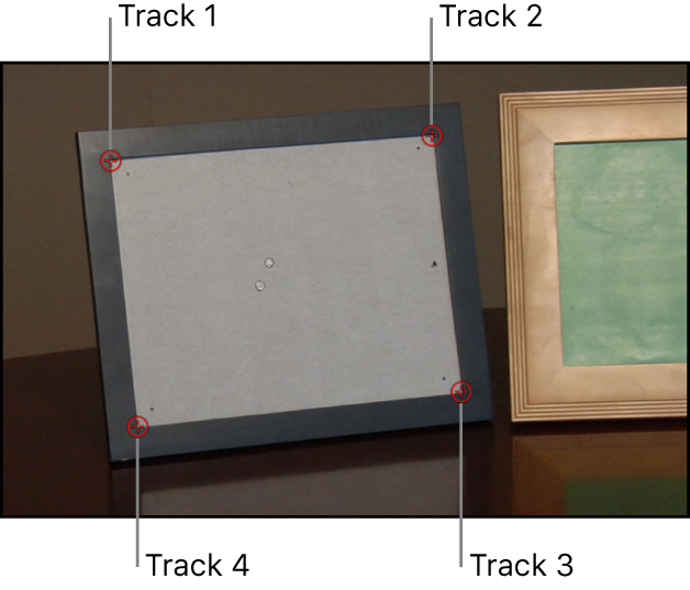 Canvas showing background layer with four trackers applied