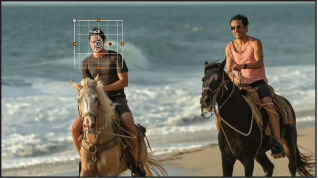 Object tracker bounding box automatically identifying a face in the canvas