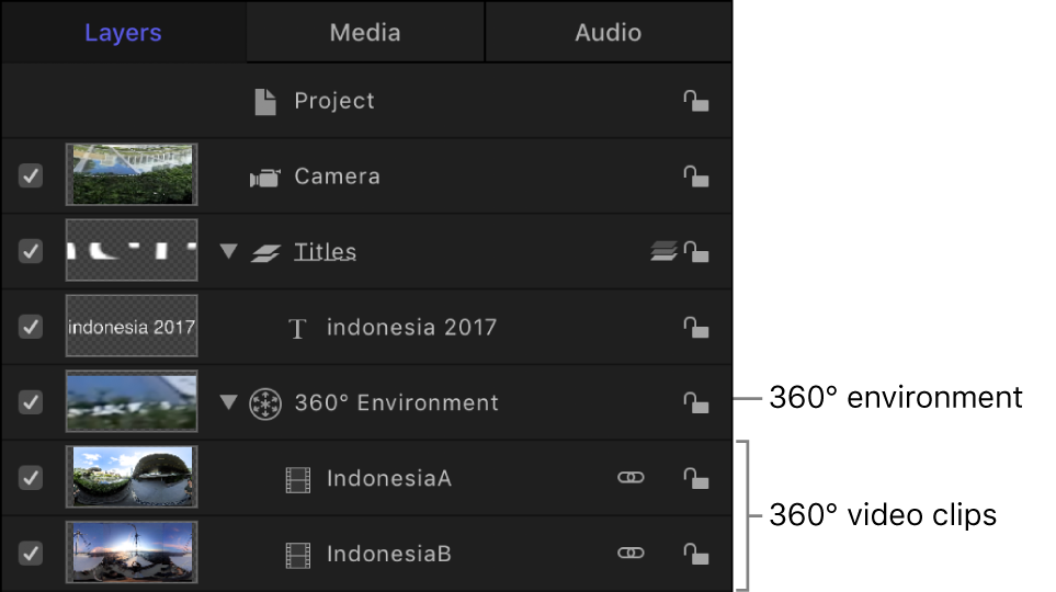 Layers list showing a 360° environment containing 360° video clips