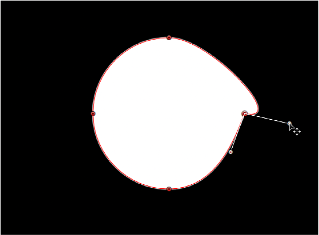 Canvas showing one tangent handle being rotated independently of its opposing tangent handle