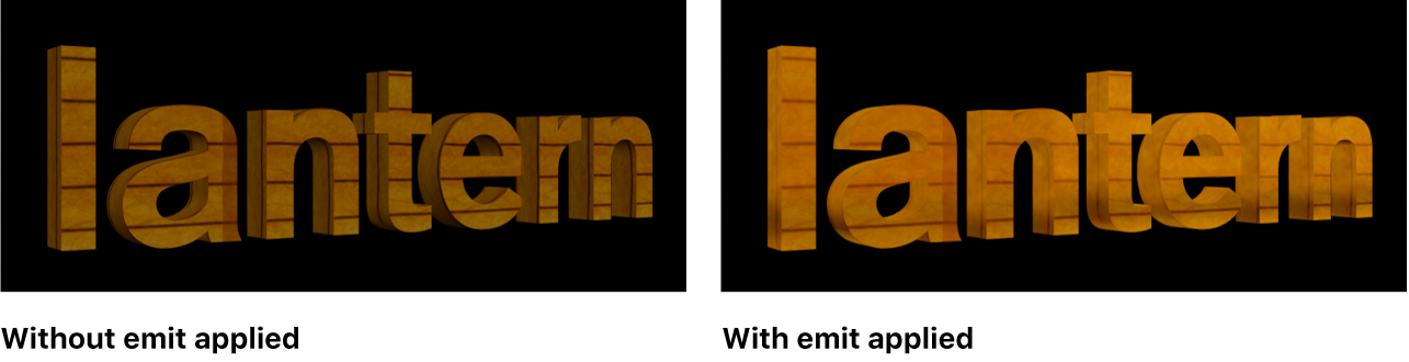 Canvas showing the effect of emit layer