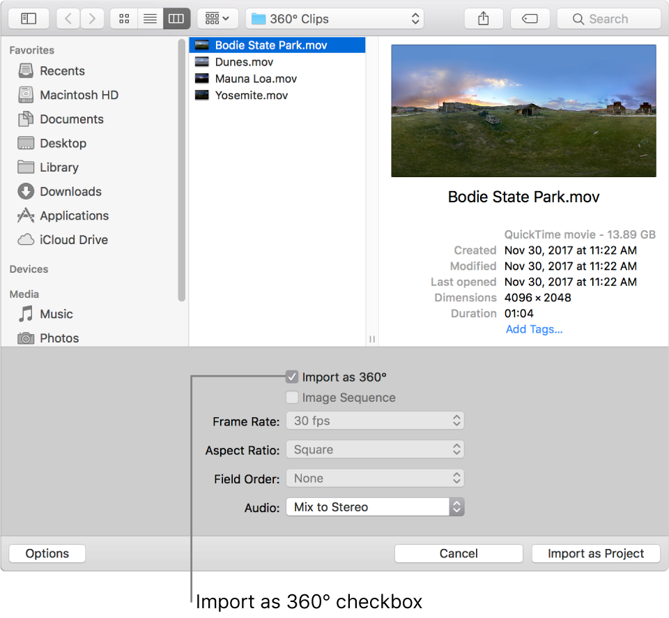Import as 360° checkbox in the import dialog.