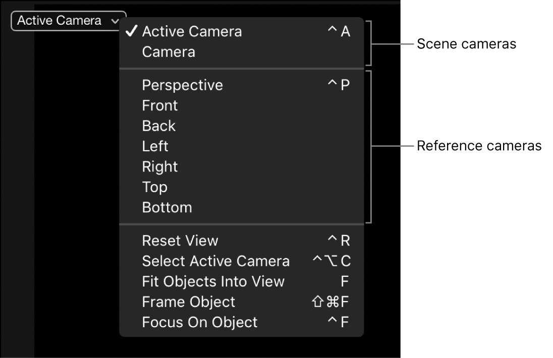 Camera menu showing options