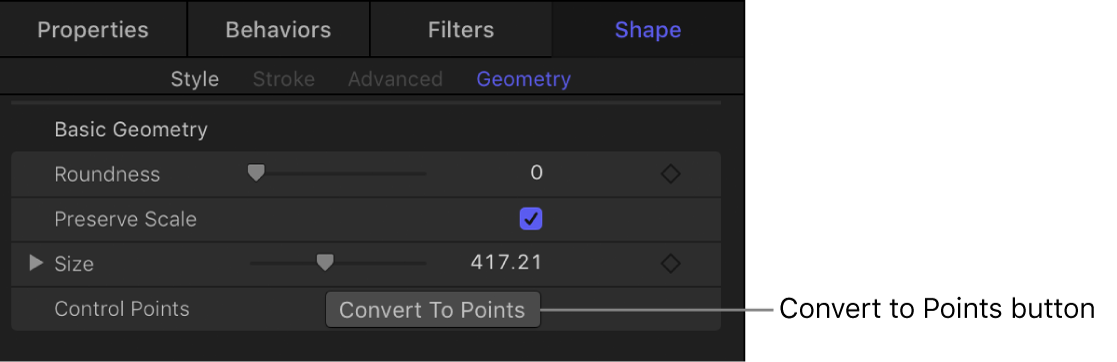 Shape Geometry pane showing Convert To Points button