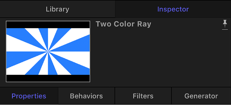 Inspector showing preview area