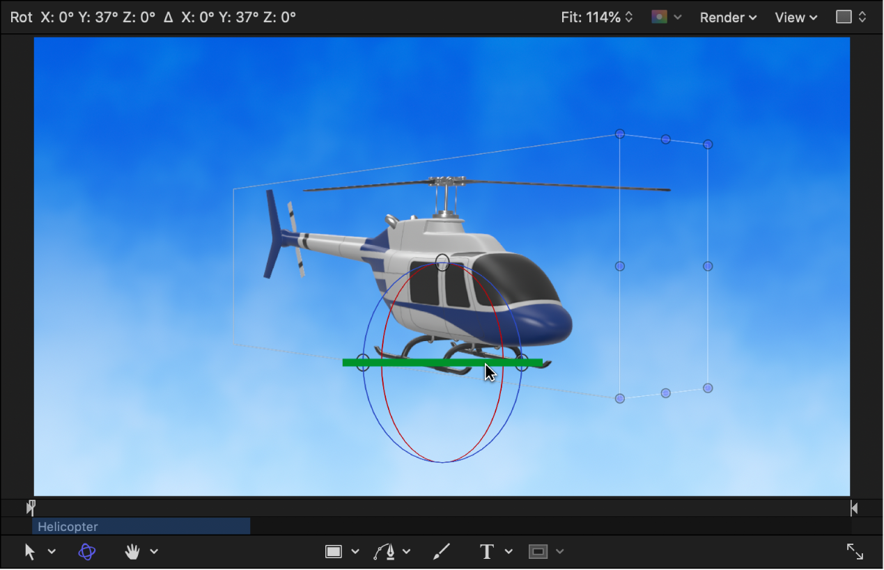 When rotated in the canvas, the sides and rotor blades of the Helicopter object become visible