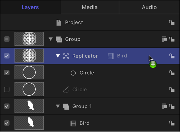 Layers list showing an object being dragged onto a replicator