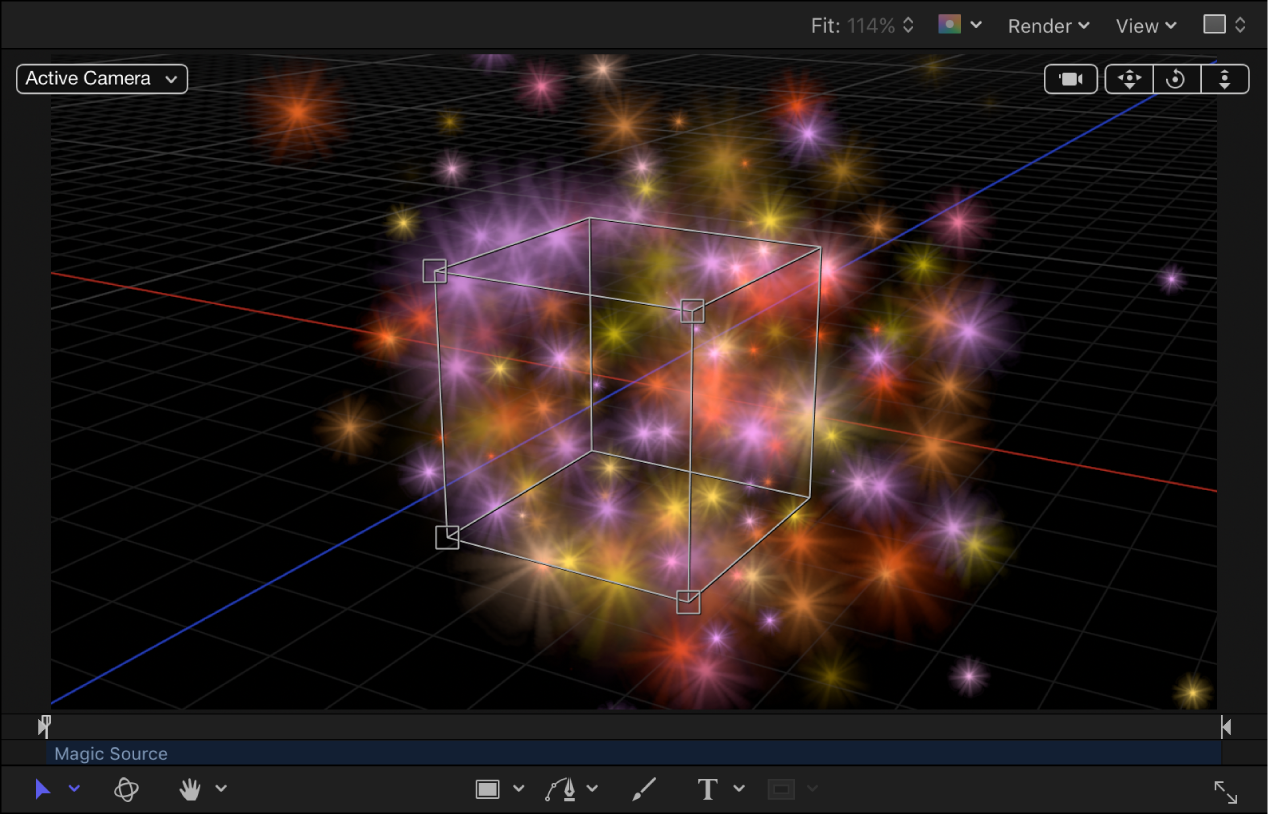 Canvas showing particle system with shape set to Box