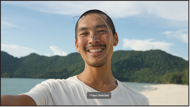 Object tracker conformed to a person's face in the canvas