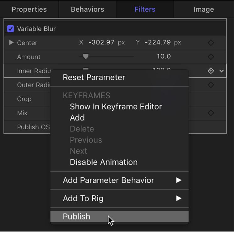 Publishing filter parameter from shortcut menu