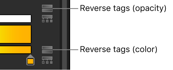 Gradient editor showing reverse tags icons for opacity and color