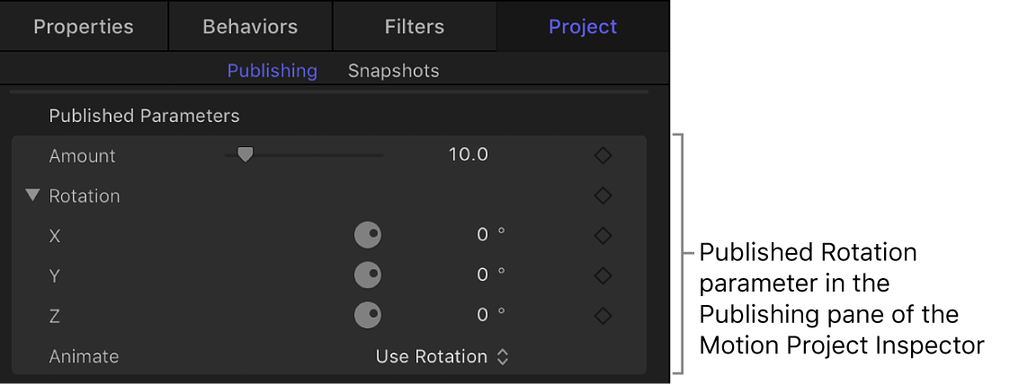 Published Rotation parameter in Publishing pane of Project Inspector