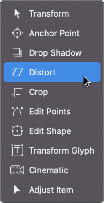 Selecting the Distort tool from the Transform tools pop-up menu