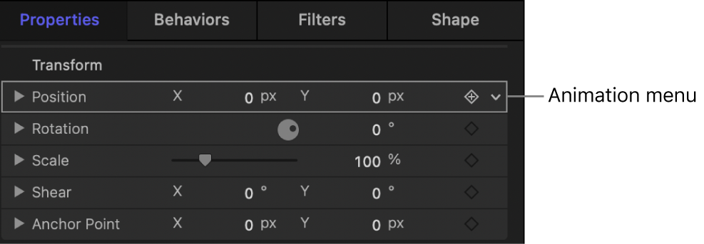 Behaviors Inspector showing the Position parameter's Animation menu (down arrow)