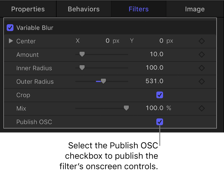 Filter Inspector showing Publish OSC checkbox
