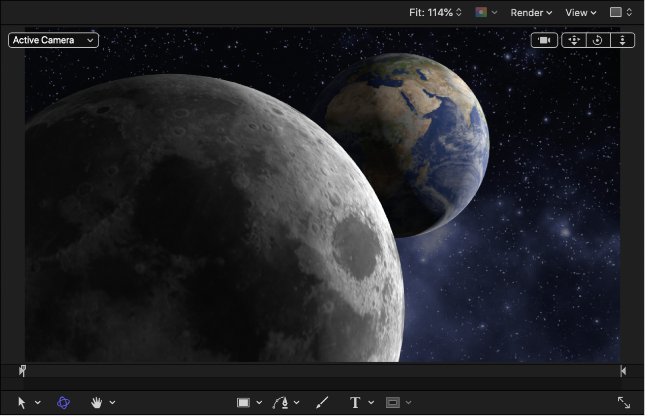 Earth and moon 3D objects in the canvas with a lowered 3D Object Environment value and lights added to the project