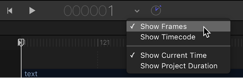 Choosing Show Frames from the timing display pop-up menu