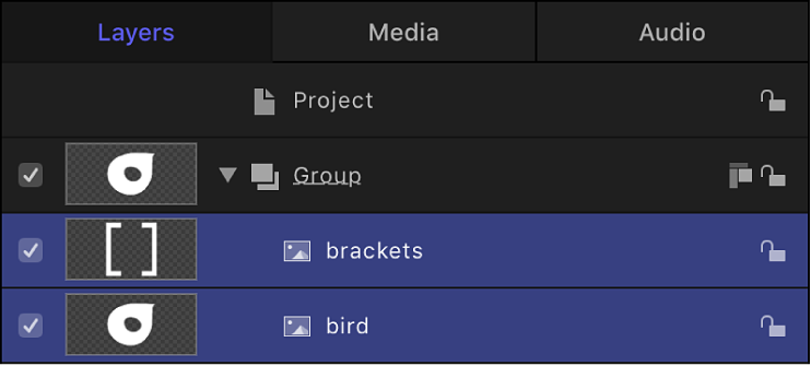 Layers list showing two source layers selected