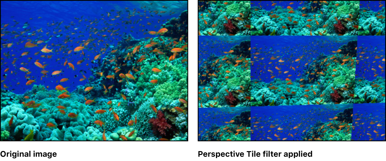 Canvas showing effect of Perspective Tile filter