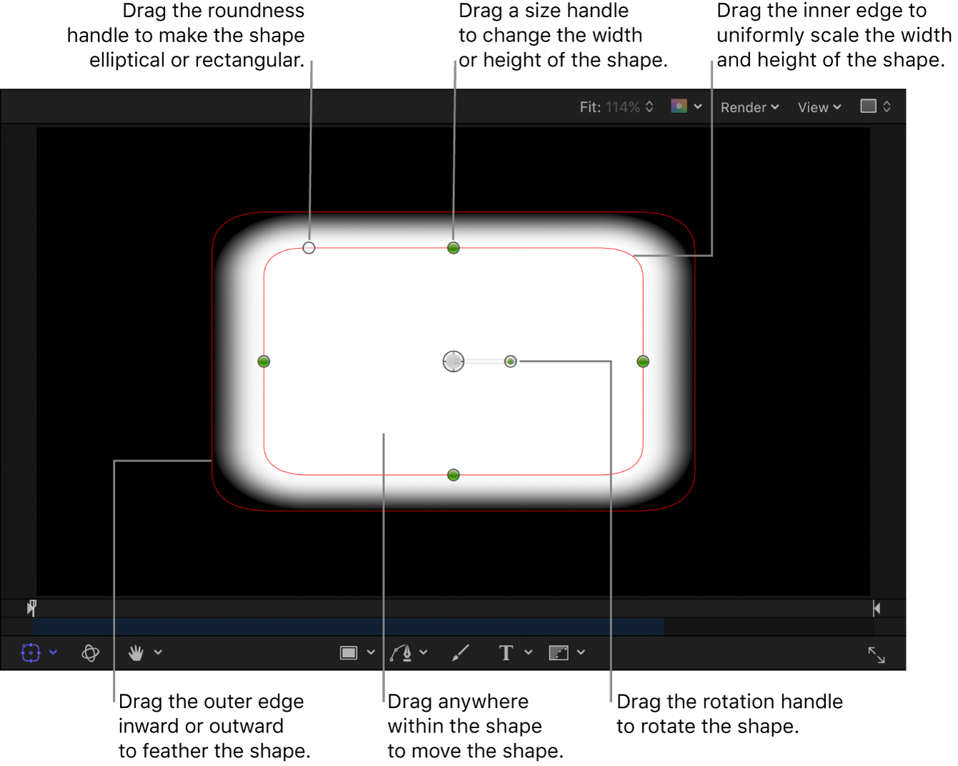 Onscreen controls to scale, feather, adjust roundness, and rotate a simple shape