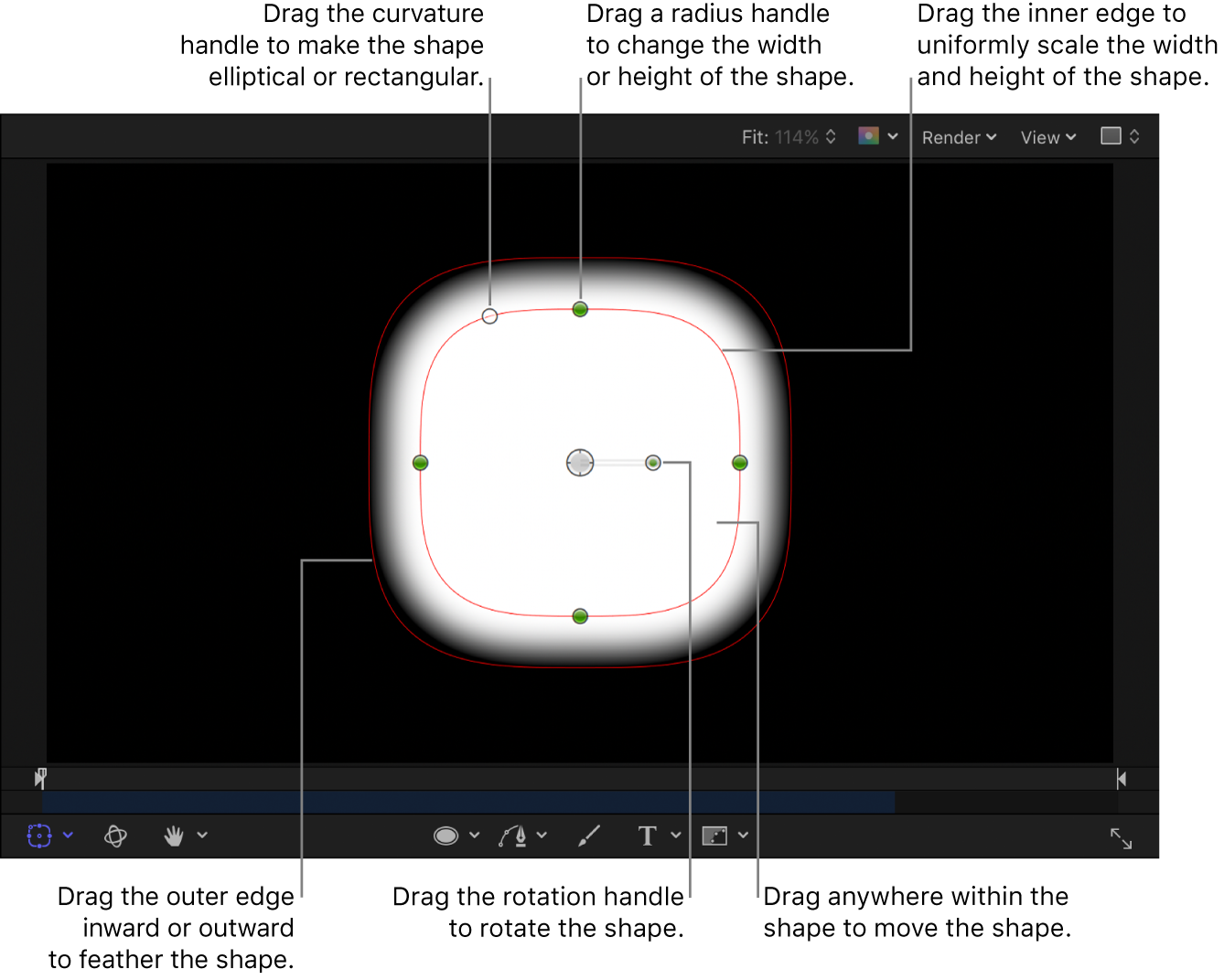 Onscreen controls to scale, feather, adjust curvature, and rotate a simple shape