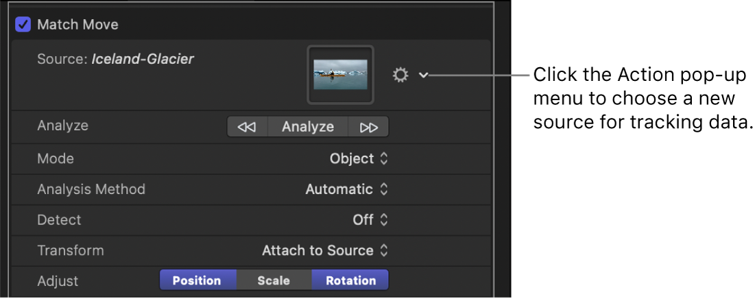 Behaviors Inspector showing Action pop-up menu in the Source parameter row