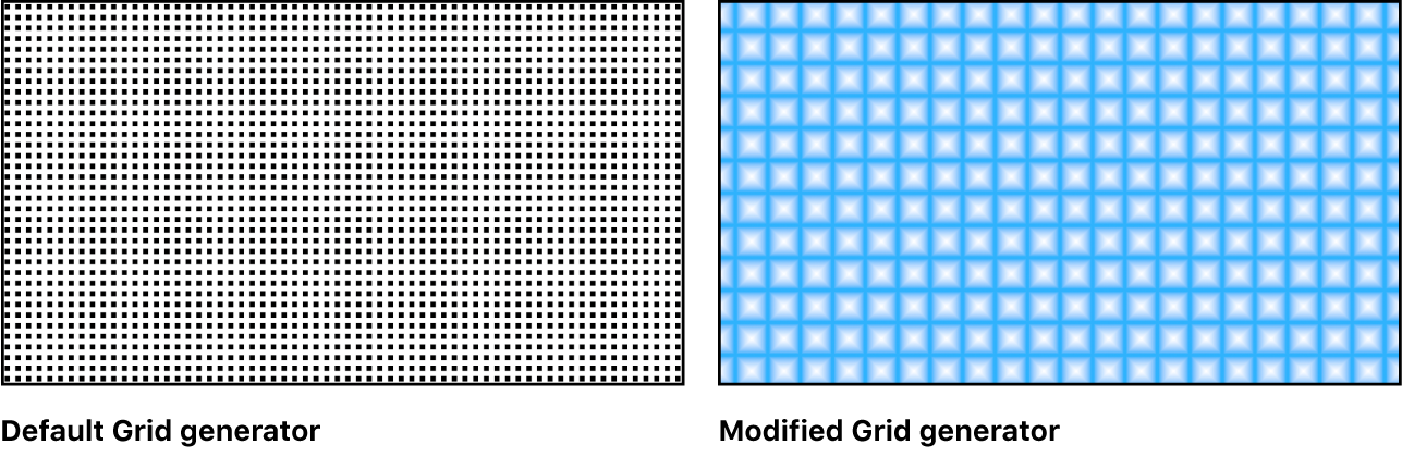Canvas showing Grid generator with a variety of settings