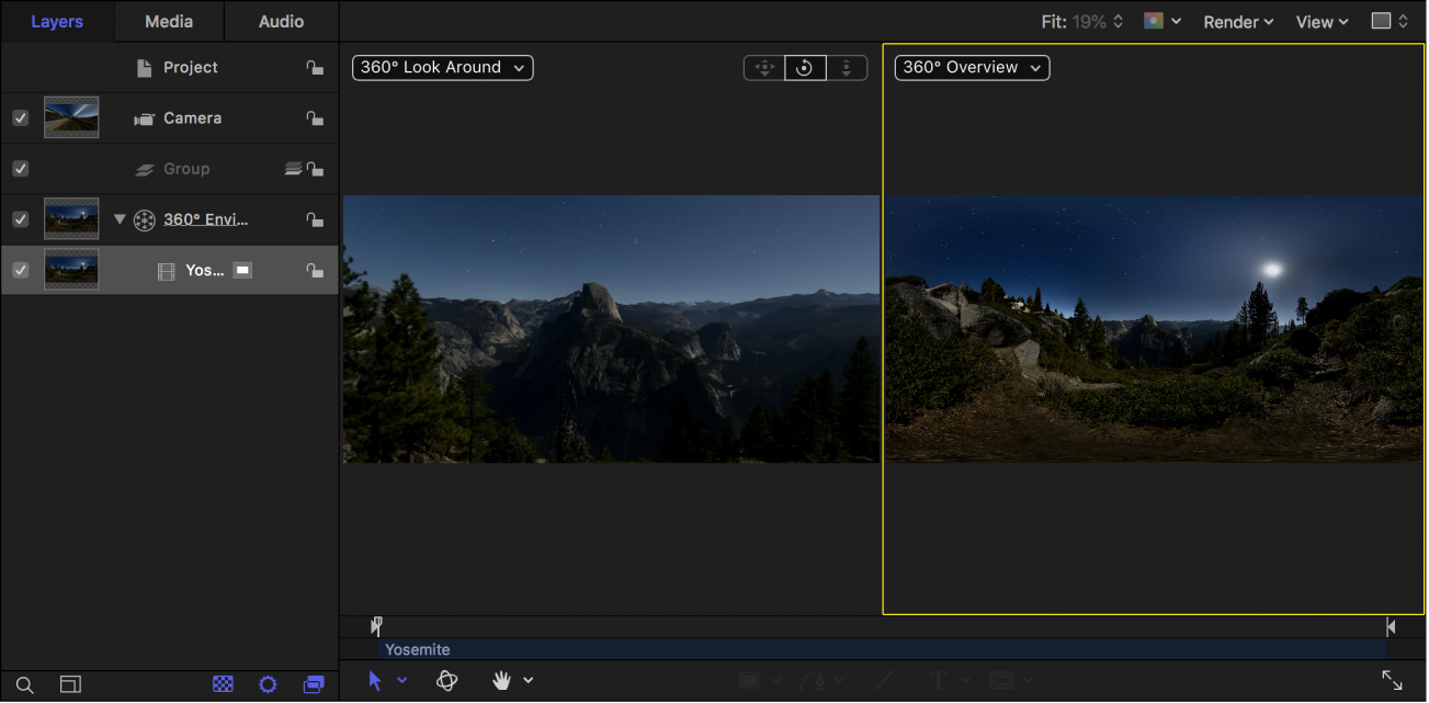 Canvas showing 360° Look Around (the projected image) in the left viewport and 360° Overview (the equirectangular image) in the right viewport