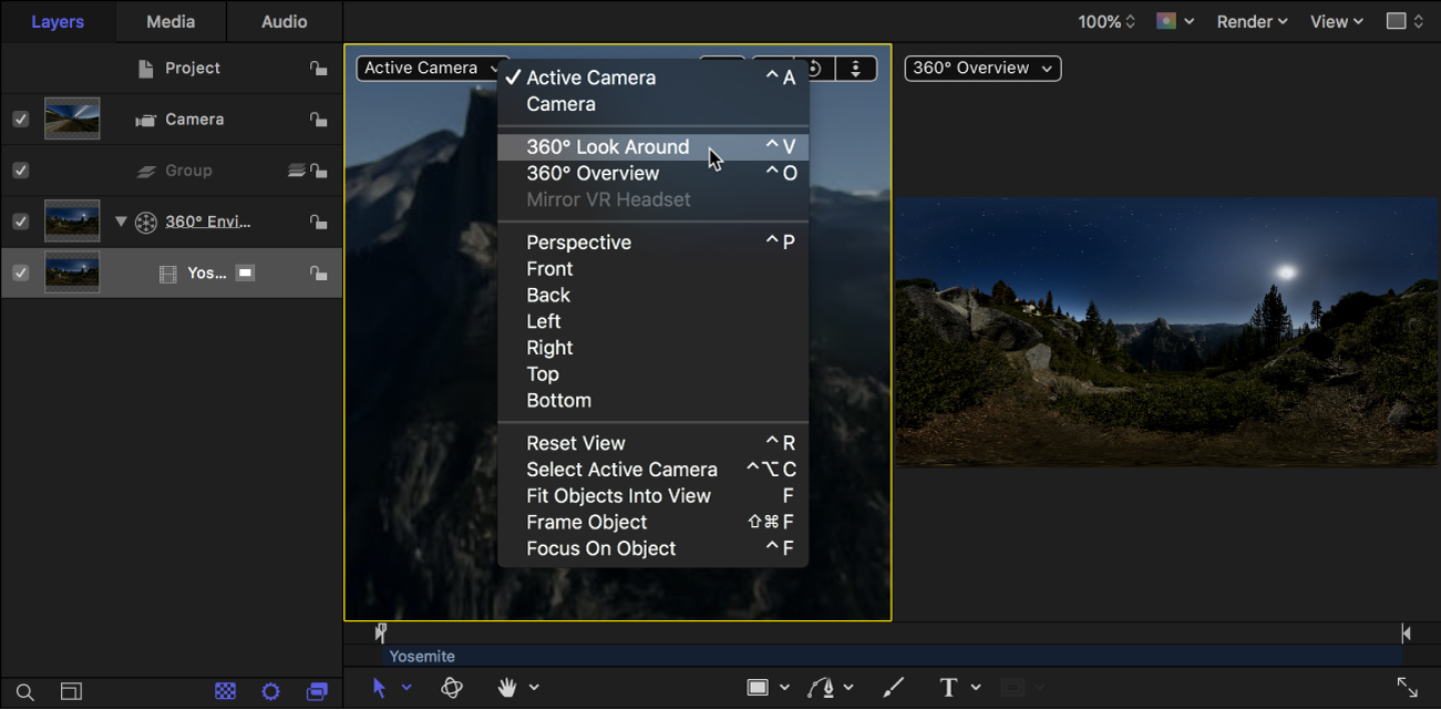 Selecting 360° Look Around from the Camera pop-up menu in the canvas