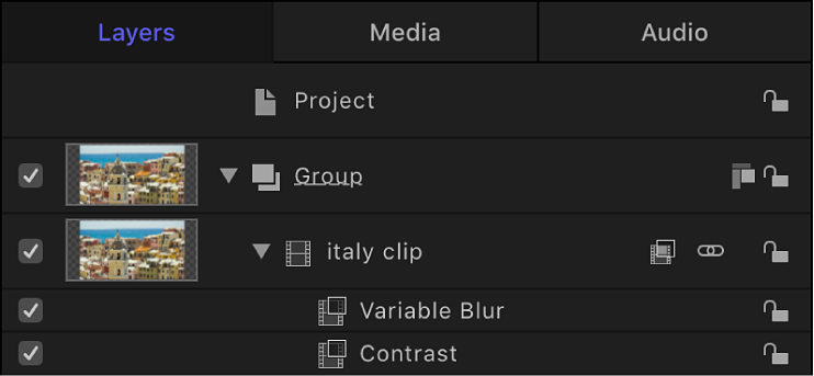 Layers list showing filters applied to an object
