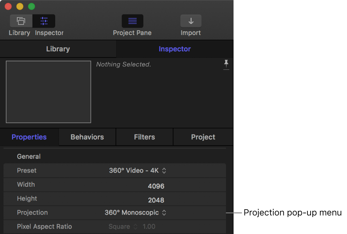 Projection pop-up menu in the Project Properties Inspector
