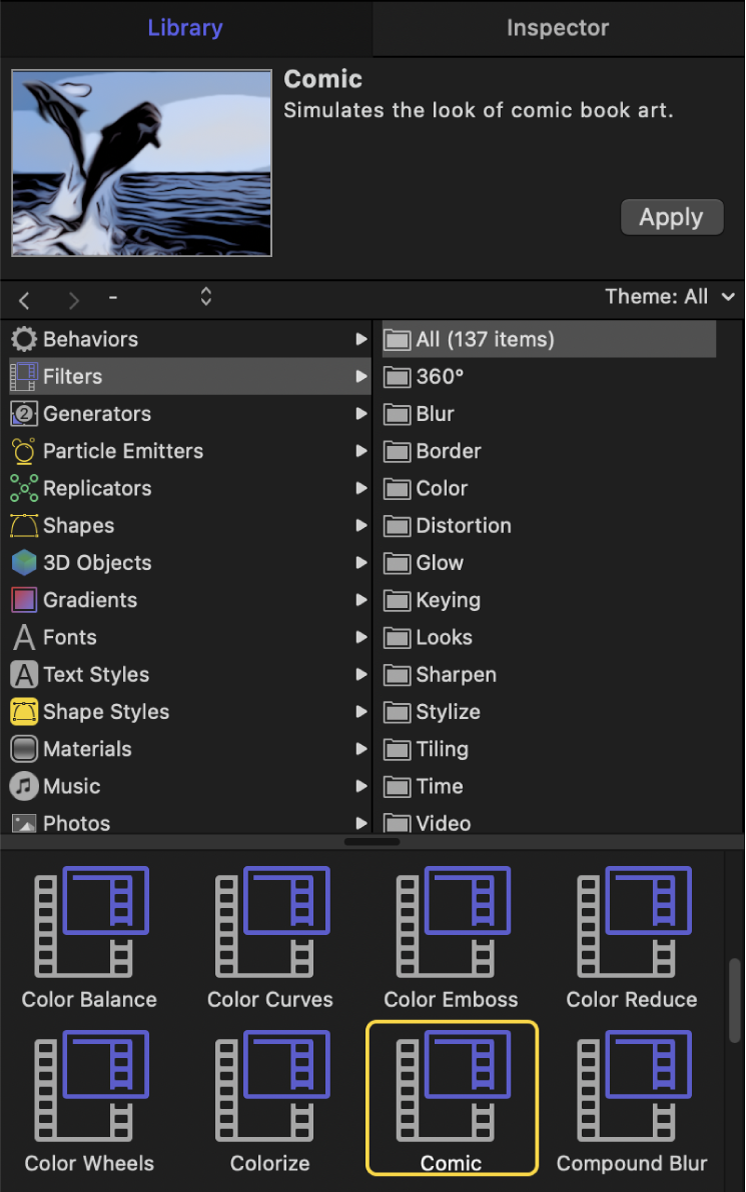 Library showing Filters categories
