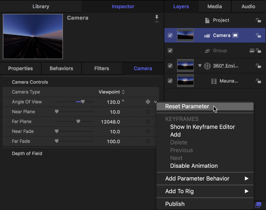 Resetting the Angle of View parameter in the Camera Inspector