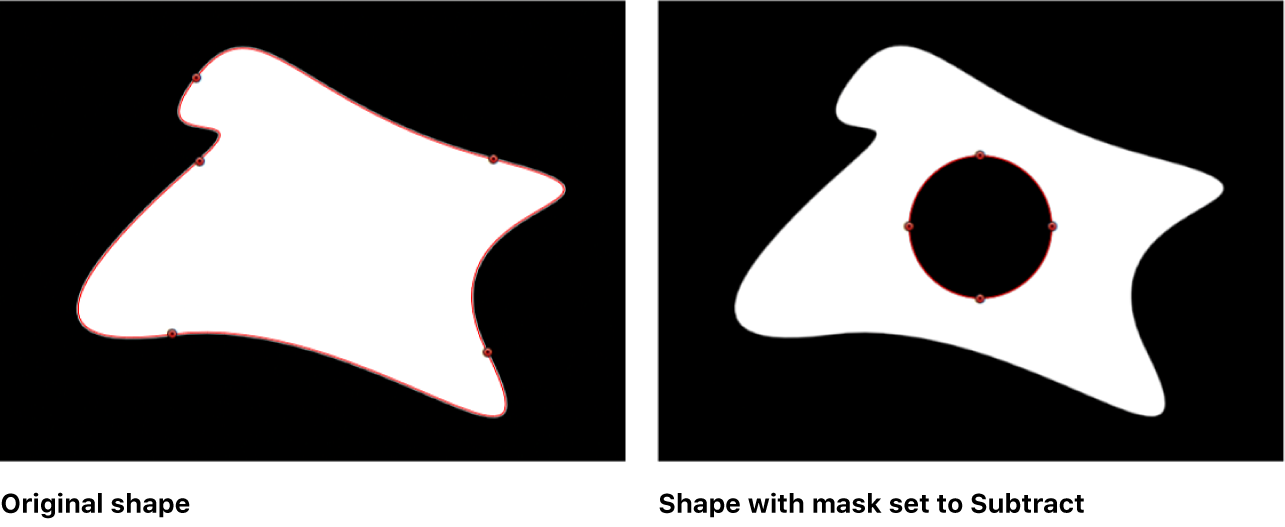 Canvas showing a shape with a mask subtracted from it