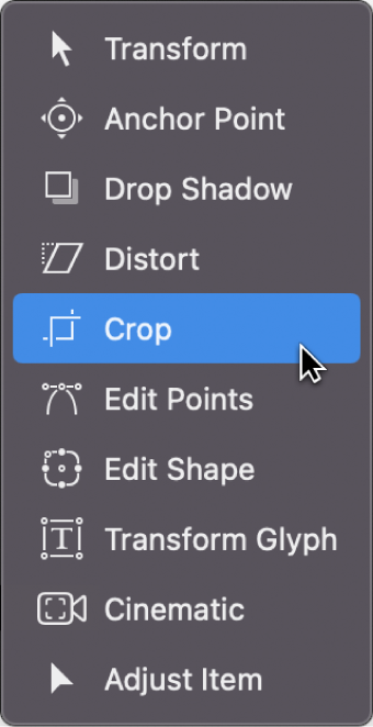 Selecting the Crop tool from the transform tools pop-up menu
