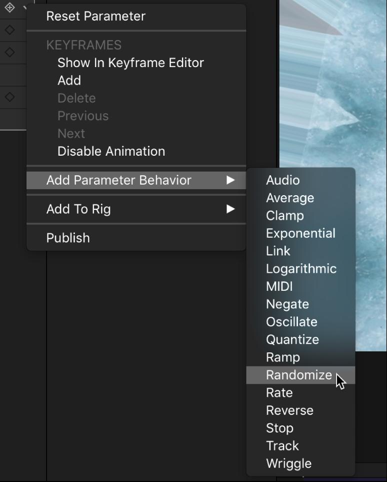 Behavior shortcut menu for a filter parameter