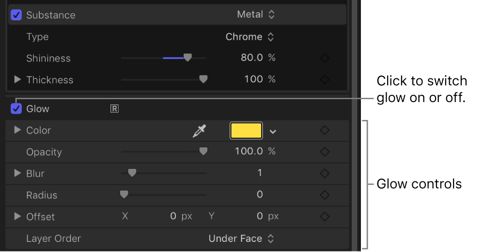 Glow Controls in the Appearance pane of the Text Inspector
