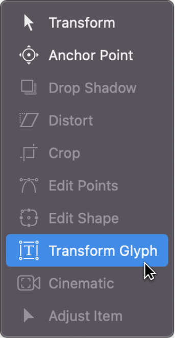 Choosing the Transform Glyph tool from the canvas toolbar
