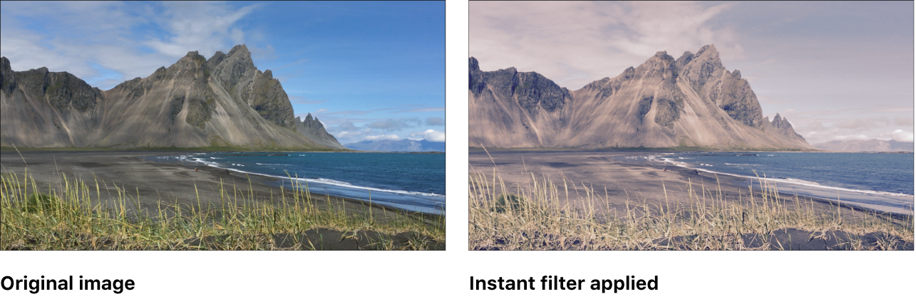 Canvas showing effect of Instant filter