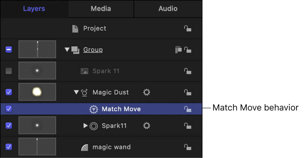 Layers list showing the Match Move behavior applied to a particle emitter