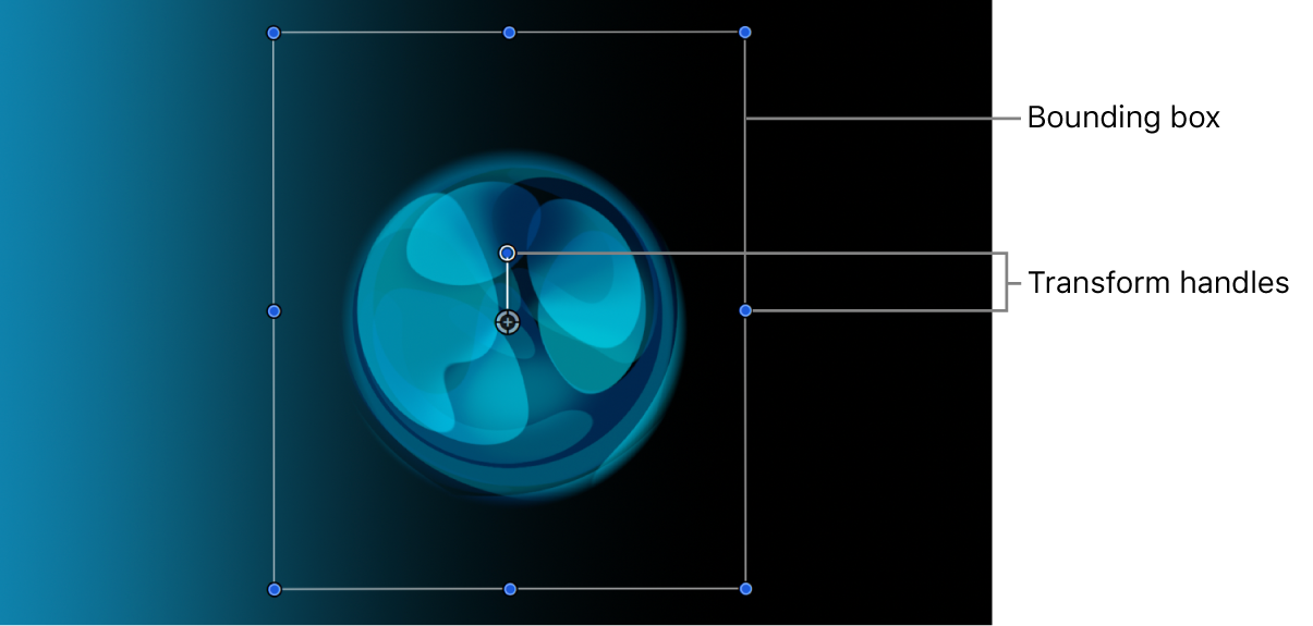Canvas showing a layer with its bounding box and transform handles active