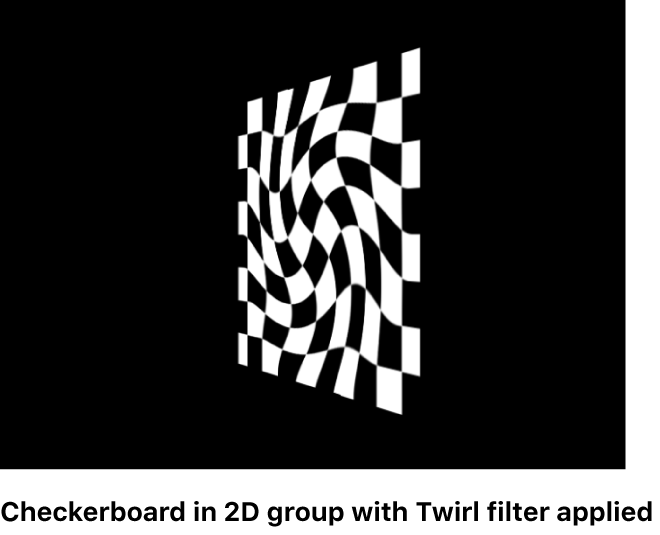 Canvas showing Checkerboard in a 2D group with a Twirl filter applied