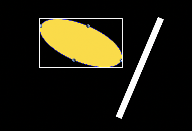 Canvas showing same two objects when the Align Tangents checkbox is selected